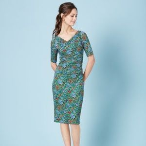 BODEN Rita Ruched Jersey Dress Floral {A34}